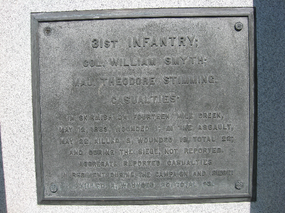 Monument for Iowa 25th and 31st Infantry Regiments